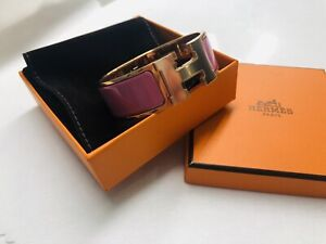 NEW HERMES Velours (pink) ROSE GOLD HARDWARE CLIC CLAC H WIDE ENAMEL BRACELET PM