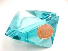 Hand cut turquoise geometric prismatic GLOWING ultra violet art glass bowl label