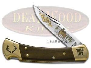 Buck 110 Faltbar Hunter Messer Tierwelt Serie Reh Ebenholz Holz 420HC Edelstahl