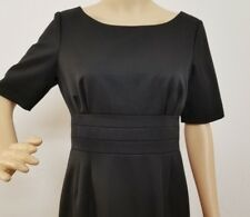 J Crew Size 8P Black Wool Short Sleeve Scoop Neck Shift Sheath Suit Dress