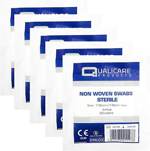 Qualicare None Woven 4PLY Sterile Gauze Medical Swabs Single Pack, 7.5cm x 7.5cm