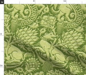 Floral Damask Exotic Renaissance Green Beast Spoonflower Fabric by the Yard