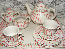 Andrea by Sadek 18 Pc Red Pinstripe Child's Tea Set Cups Plates creamer Tray