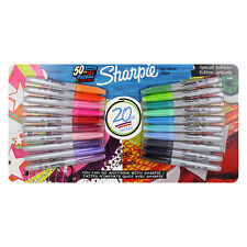 Sharpie Permanent Markers, Fine Point, Assorted Colors, Pack of 20