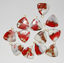 VINTAGE 2 MOTTLED RED WHITE GOLD FOILED GLASS BRASS PENDANT BEAD TRIANGLE 22mm