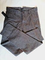 Sisley Benetton Men's Grey/Black Chino Cotton Trousers W32 L30