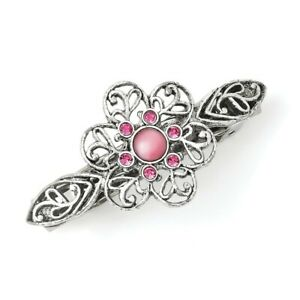 Pink Cabochon & Crystal Flower Barrette Silver Tone Hair Clip 1928 Boutique