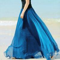 Womens Boho Chiffon Long Maxi Dress Ladies Beach Dresses Casual Sundress Skirt