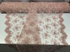 Lace Fabric - Bridal Mesh Lt Pink With Embroidery Beaded & Sequins By The Yard