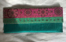 Indian embroidery green & pink clutch bag