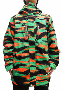 Volcom Fatigue 4-Way Stretch Men's Snowboard Snow Ski Jacket Green Orange Camo L
