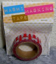 1 Roll Package (8 Meters) of Darice Washi Masking Tape with Red Christmas Trees