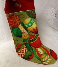 Vintage Christmas Tree Toys Girl Needlepoint Stocking Personalized Amy