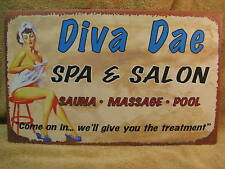Diva Dae Spa Salon Tin Metal Sign Decor FUNNY Hair bath