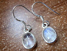 Very Small Moonstone Earrings 925 Sterling Silver Dangle Drop New 639dB