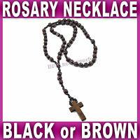 WOODEN ROSARY BEAD NECKLACE CROSS prayer Jesus Saint Crucifix black or brown NEW