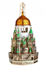 Russian Decorative Faberge Egg Music Box Trinket Jewel Box Moscow Kremlin 7.1'