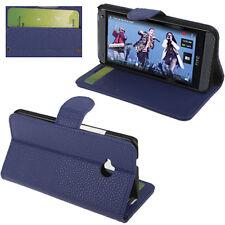 COVER CUSTODIA FLIP CASE PER HTC ONE M7 801N PELLE STAND+INSERTO CARTE BLUE