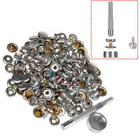 """150PCS 3/8"""" Snap Fastener Sets Boat Marine Cover Canvas Sockets Screw and Tools"""