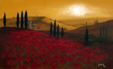 Tuscan Landscape I by pollard Red Poppies 6x10 signed print Italy sunset