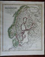 Scandinavia Denmark Norway Sweden Finland Baltic Sea c. 1850 Spruner map