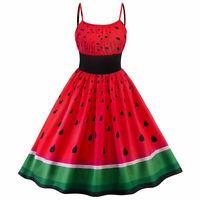 US Women's Retro Sling Rockabilly Watermelon Evening Party Vintage Swing Dress