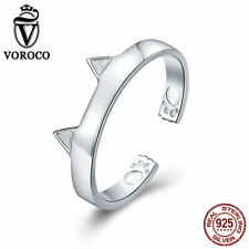 VOROCO 925 sterling Silver Cat Ear Rings Adjustable Ring Jewelry Rhodium Plated