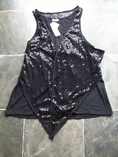 BNWT Women's Crossroads Black Sleeveless Two Layer Sequinned Top Size XXL