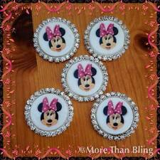 5 x 33MM MINNIE MOUSE FLAT BACK RHINESTONE TRIM HEADBANDS BABY HAIR BOW CENTRES