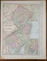 "Vintage 1901 NEW JERSEY Atlas Map 11""x14"" Old Antique Original FREEHOLD TRENTON"