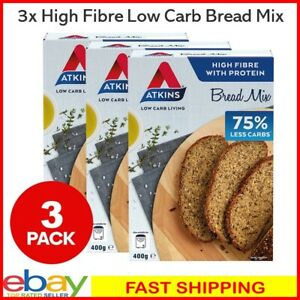 3x Atkins Low Carb High Fibre & Protein Multi-Seed Bread Mix 400g Oven Machine
