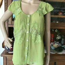 WOMEN'S BLUE SKETCH LIME GREEN SHEER CAPPED SLEEVE BLOUSE EYELASH LACE LARGE