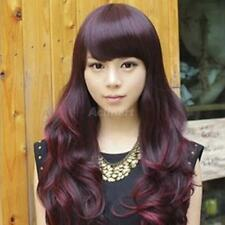 Fashion Womens Long Wavy Curly Full Hair Wigs Party Cosplay 67cm - Wine Red