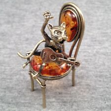 "Amber Baltic Carved Singing Сat with Guitar on chair 2"" Handmade *US SELLER*#211"