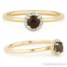 Setting Right-Hand Ring in 14k Rose Gold 0.41 ct Round Cut Garnet Diamond Halo