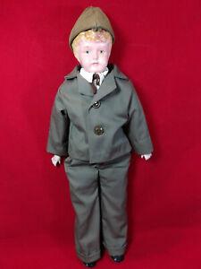 "Antique 17"" RARE Metal Tin Head Soldier Boy Doll Bisque Hands Cloth Body"