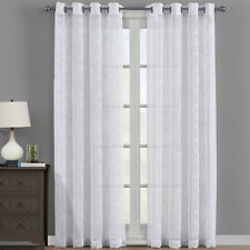 Modern Brook Embroidered Panels Grommet Top Sheer Window Curtain Set of 2