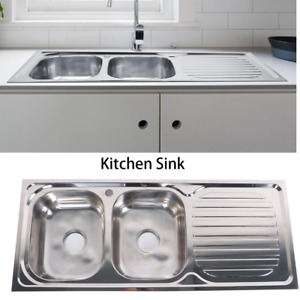 Stainless Steel 2 Bowl Double Kitchen Sink Reversible Drainer Inset 120x50cm