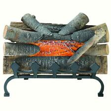 Electric Fireplace Crackling Log Burning Fake Wood Glowing Decor with Grate