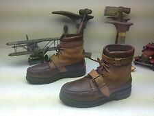 RALPH LAUREN POLO SPORT TWO TONE BROWN  LEATHER LACE UP BUCKLE STRAP BOOTS 9 M