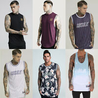 Mens Sik Silk Designer Racer Basketball Stringer Summer Vest Tank Top T Shirt