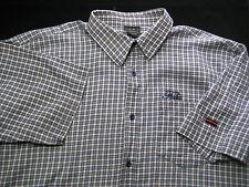 FUBU The Collection Short Sleeve Blue Plaid Button Down Shirt Men's SIZE XXL