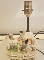 Vintage Victorian Horse Drawn Carriage Porcelain Table Lamp Japan