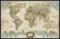 Educational World Map -Chart Counted Cross Stitch Pattern Needlework Xstitch DIY