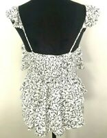 Seed Womens BNWT Size 8 Blouse Black and White Mini Floral Layered Ruffle Sleeve