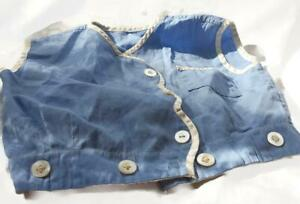 Vintage Baby Button Sleeveless Shirt -  Hand Sewn Blue and White - 27 Inch Chest