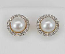 Pearl and Diamond Halo Stud Earrings Yellow Gold June Birthstone Wedding Studs