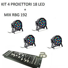 FARO RGB X4 PAR LED 18 WATT STROBO WASH PROGRAMMABILE DMX + MIXER EFFETTO DISCO