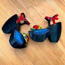 Vintage 1970s Sabots by Kimel Wooden Platform Sandals Heels Disco Party Shoes