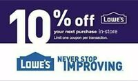 Lowes 10% OFF Instant-1COUPON PROMO IN-STORE ONLY EXP 2-29